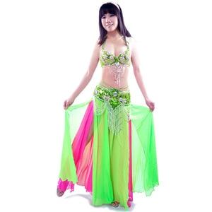 Image 5 - 새로운 섹시한 듀얼 컬러 밸리 댄스 스커트 전문 Bellydance 드레스 세트 Bellydancing 의류 성능 의상: 브래지어 & 벨트 & 스커트