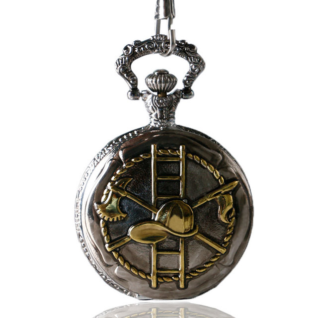 46mm Big Size Golden Pocket Watch Firemen Necklace Men Quartz Watches 30mm Pendant Chain Fob Watch