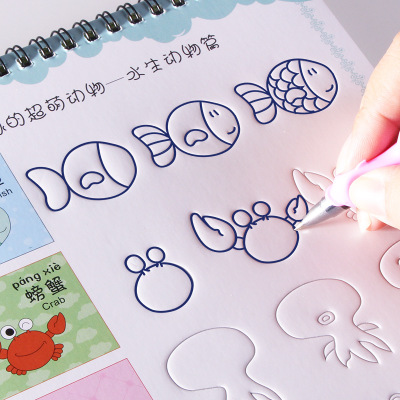 3D Reusable Groove Animal /Fruit / Vegetable /plant Super Meng Stick Figure Baby Drawing Coloring Books For Kids Children