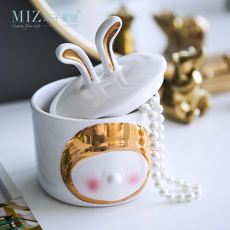 Miz Cute Rabbit Ear Jar Jewelry Organizer Candy Jar Home Decoration Accessories Ceramic Jar with Lid Storage Box Container