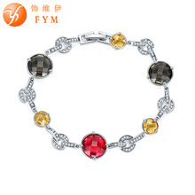 FYM Brand Round Colorful Cubic Zircon Bracelets & Bangles Silver color Link & Chain Bracelet For Women Fashion Jewelry FYMBR0182 fym brand round colorful cubic zircon bracelets