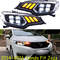 Car Headlights 2014 2015 2016 2017 For Honda Fit Headlamp DRL Lens Double Beam of 4 LED Red LED Angle Eye Style