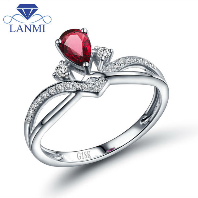 Solid 18K White Gold Pear Natural Ruby Ring for Anniversary Jewelry Gift Dating for Women WU291