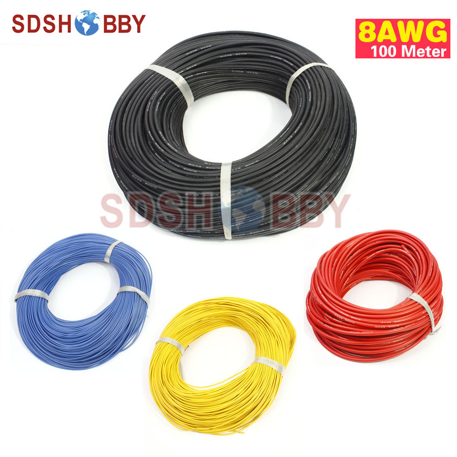 100 Meter 8AWG Silicone Wire/ Silica Gel Wire/ Silicone Cable (1650/0.08, OD: 6.8) 1meter red 1meter black silicon wire 8awg 16awg 18awg 20awg 22awg 24awg heatproof soft silicone silica gel wire cable