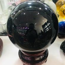 4cm-20cm +Stand Natural Black Obsidian Sphere Large Crystal Ball Healing Stone+pedestal