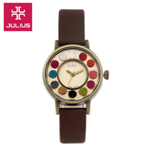 Julius Watch Kids Watch Women Couple Casual Fashion Simple Waterproof Leather clock