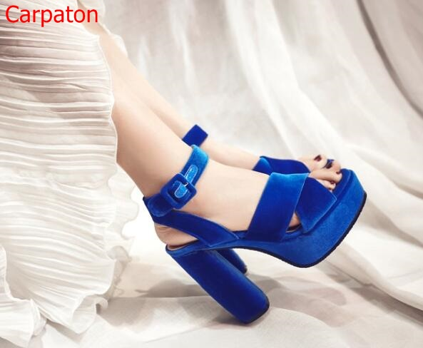 Big Size Summer High Heel Sandals Retro Solid Suede Cut Out Peep Toe High Heels Concise Velvet Platform Ankle Buckle Party Shoes fashion 2017 solid ankle buckle thin high heel fashion hollow out round toe narrow band concise woman summer sandal