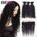 Lace Frontal Closure With Bundles 4 pcs Brazilian Deep Wave With Frontal Closure Brazilian Virgin Hair With Closure Human Hair