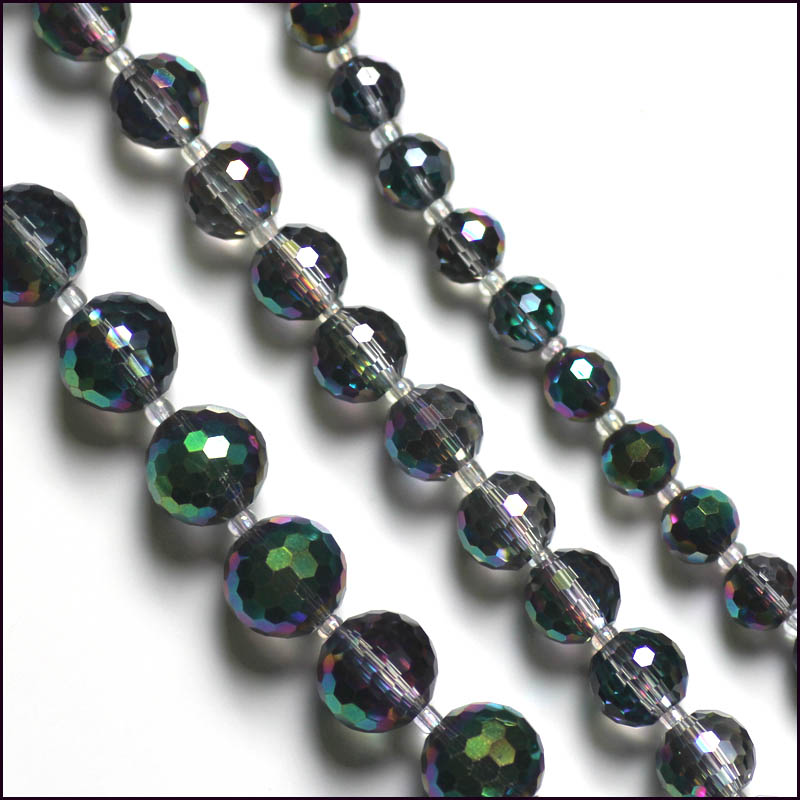 New Arrival 50pcs 8mm GREEN AB Round Glass Beads For Jewellery Making