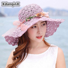 XdanqinX Summer Womens Straw Hat Foldable Oversized Visor Sun Hats For Women Anti-UV Fashion Headdress Decorated Beach