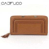 CAJIFUCO Vintage Women Long Wallet Genuine Leather Carteira Minor Metal Credit Card Holder Zip Coin Purse Tassel Phone Clutch