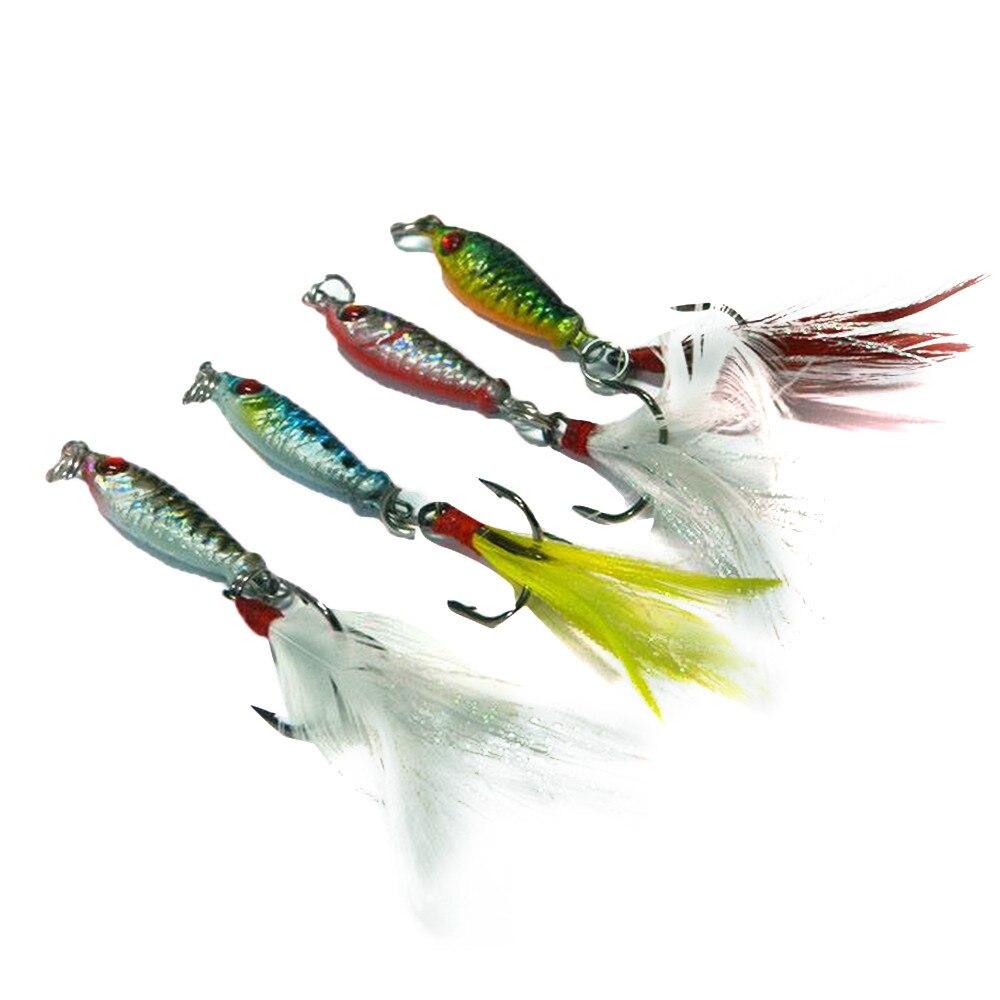 4 Pcs Hard Metal Fishing Lures Small Minnow Lure Bass Crank Bait Tackle Hooks~