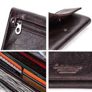 Image 5 - Contacts couro genuíno homem carteiras longas com zíper bolsa de moedas grande capacidade masculino embreagem carteira para iphone passaporte cartera