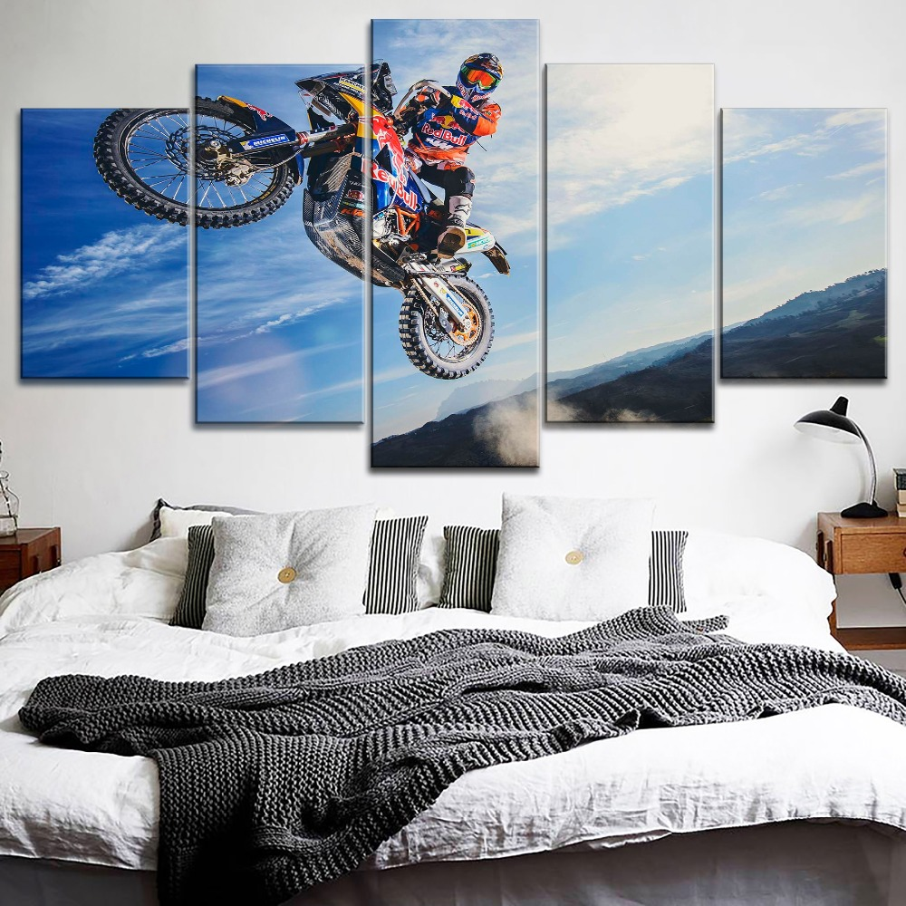 Top Rated Canvas Print Type Modular Large Poster 5 Pieces Motorcycle Dune Rally Cross Country Painting Modern Wall Decor Artwork in Painting Calligraphy from Home Garden