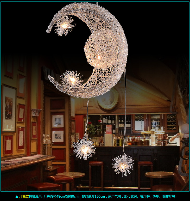 LED the nest lights the stars the moon chandelier crystal droplight with simple fashion children bedroom lamp restaurant