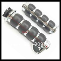 1 Chrome Rubber Handlebar Hand Grips For Honda GL Shadow Rebel Sabre VTX VT 750 1300 1800 Harley Road King Street Glide Custom