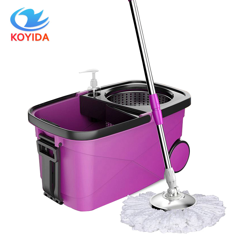 KOYIDAHand Pressure Magic Spin <font><b>Mop</b></font> Bucket Double Drive With 1 Microfiber <font><b>Mop</b></font> Head Household <font><b>Mops</b></font> Easy Floor Cleaning Tool Large