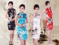 Free Shipping 2014 New Sale Cheongsam Dress Vintage Bird Printed Cheongsam Dress Chinese Traditional Dress Qipao
