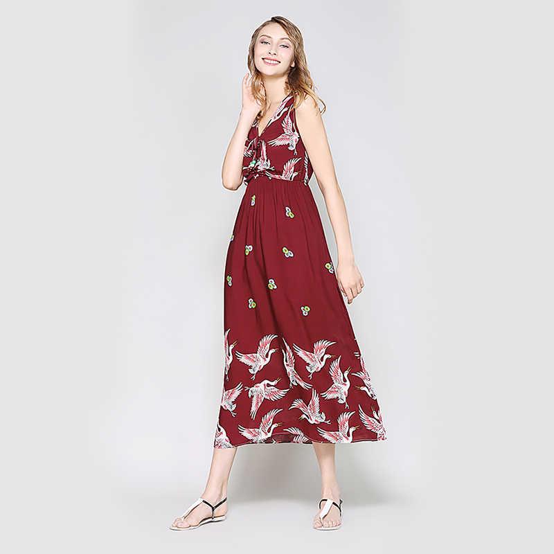 325ea651192d5 Hanyiren Sexy Elegant Floral Print Sleeveless Maxi Long Dress V Neck  Fashion Dress Summer Women Slim Bohimian Beach Dresses
