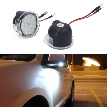 купить 2pcs White Welcome Light for Ford Fusion 2 3 Explorer Focus Mondeo Edge Taurus LED Under Mirror Puddle Car Rear Mirror Light по цене 680.44 рублей