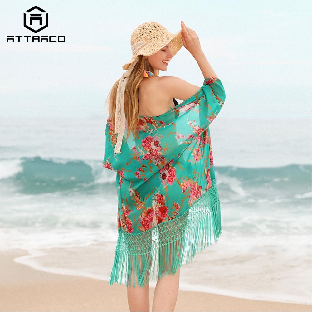 Attraco Women Beach Cover Up Kaftan Bikini Chiffon Tassel Cover-Ups See-through Swimsuit Women Swimwear Sexy Bathing Suit