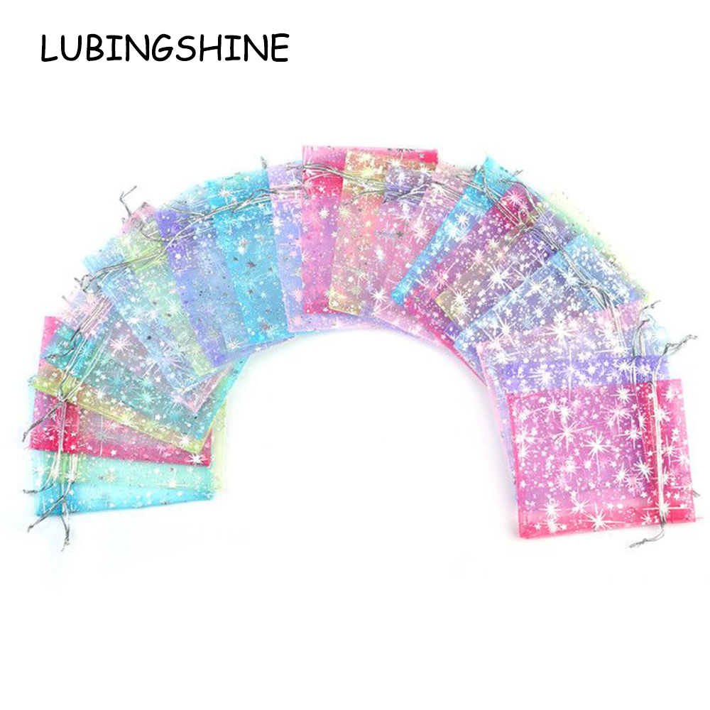LUBINGSHINE 50pcs/lot Organza Gift Bags Strap Drawstring Candy Pouches Wholesale Jewellery Packaging With Star 9*12 cm