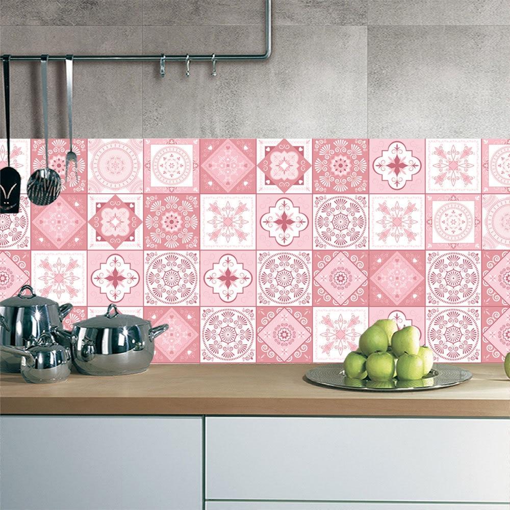 3D Pink Tile Floor Sticker 20*100cm*1pcs Kitchen Bathroom Waist Line DIY Wall Stickers Home Decor Self-adhesive Art Mural Poster