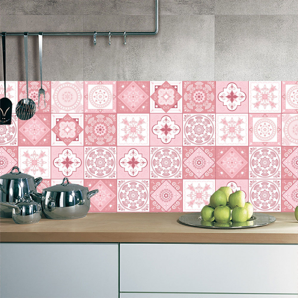 Pink Tile Floor Sticker 20 100cm 1pcs Kitchen Bathroom Waist Line Diy Wall Stickers Home Decor Self Adhesive Art Mural Poster In From