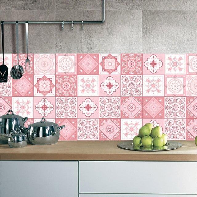Pink Tile Floor Sticker 20 100cm 1pcs Kitchen Bathroom Waist Line Diy Wall