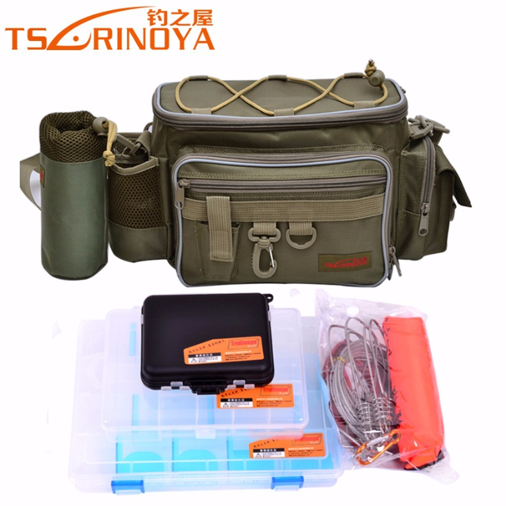 TSURINOYA Brand Multifunctional Fishing Bag Set Large Size Design Bag + 3 PCS Lure Box + Fish Buckle Fishing Tackle Combination trulinoya multi purpose fishing bag 24 15 cm fish lock lure box accessories box style fishing bag set fishing tackle best