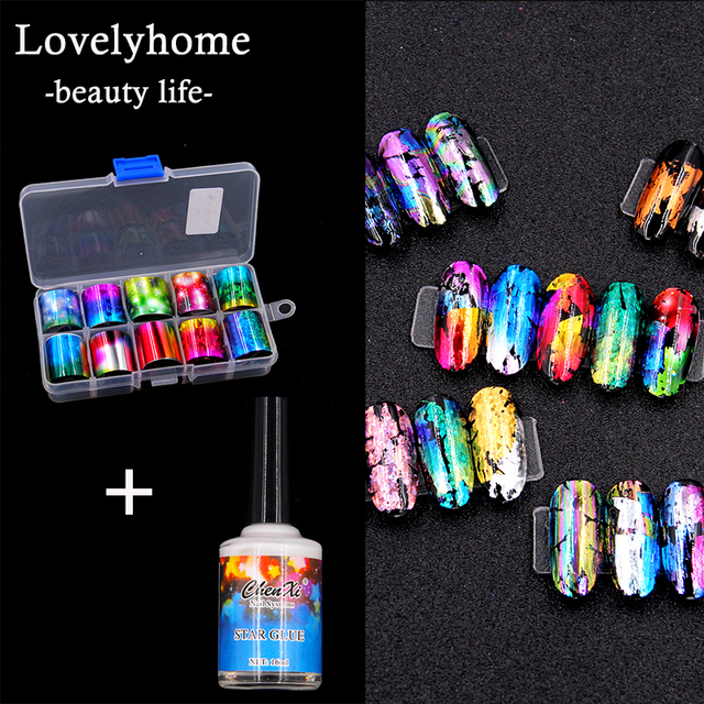 1 Set Holographic Nail Foil Set 10Sheets Holographic Nail Foil ...