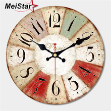 MEISTAR Vintage Large Abstract Design Clock Silent Cafe Kitchen Wall Clocks Watches Home Decor Art Shabby Chic Wall Clocks klok стоимость