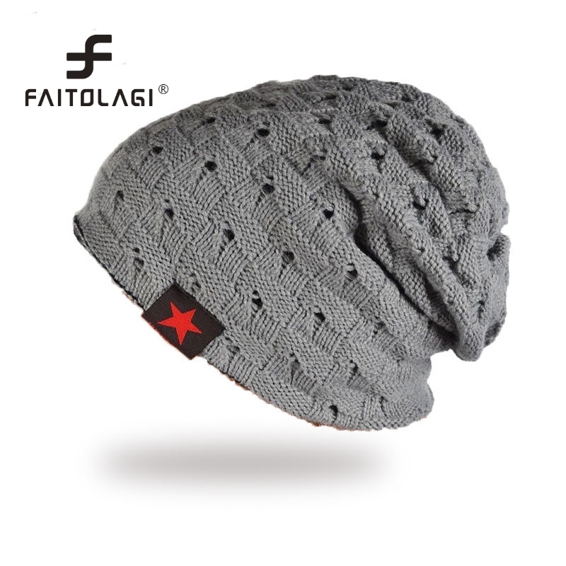 dfac90dd7ae538 Women Men Winter Hats Red Star Knitted Beanies Skullies Cchunky Baggy Caps  Ski Bonnet Gorros