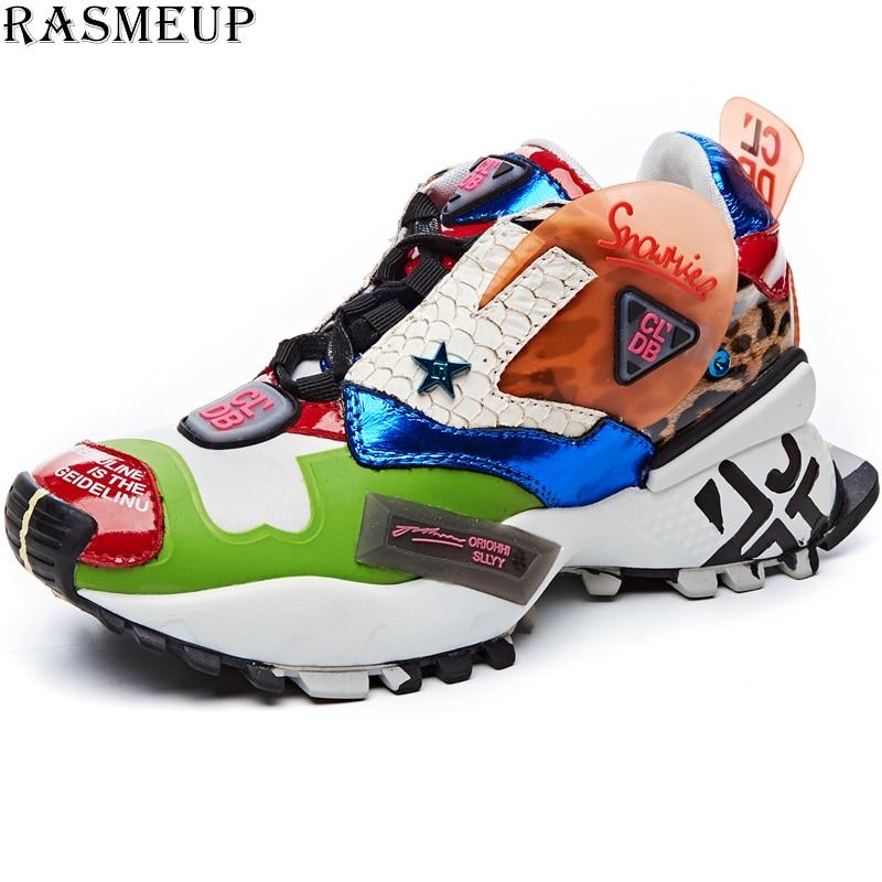 RASMEUP Street Style Women's Chunky Sneakers 2019 Fashion Brand Women Flat Platform Shoe Breathable Women Trainers Footwear
