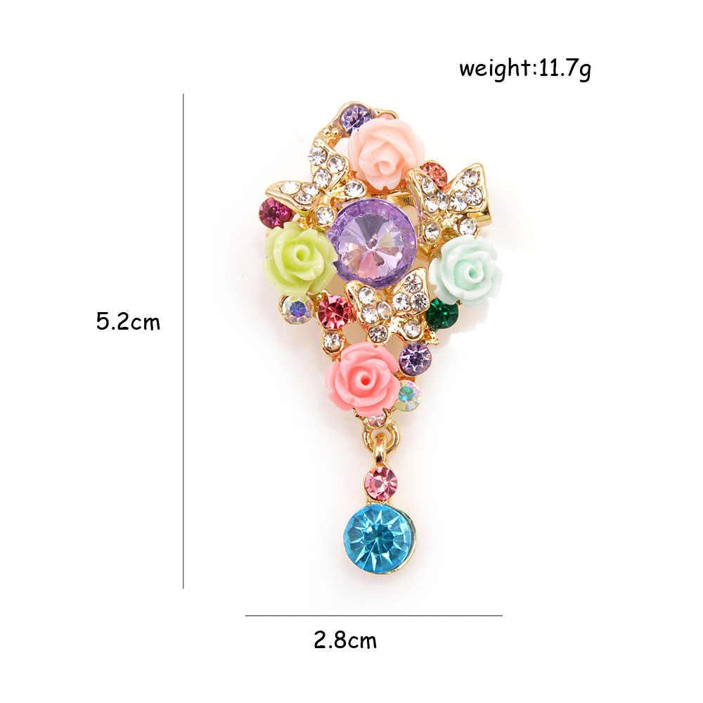 Cindy Xiang Baru Penuh Warna Indah Resin Bunga Bros untuk Wanita Pernikahan Gaya Taman Bros Pin Musim Panas Fashion Hadiah