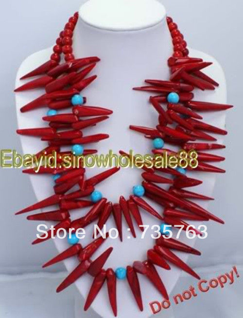 xiuli 001 2 rows red coral turquoise necklace Chains Bridal Jewelry momen
