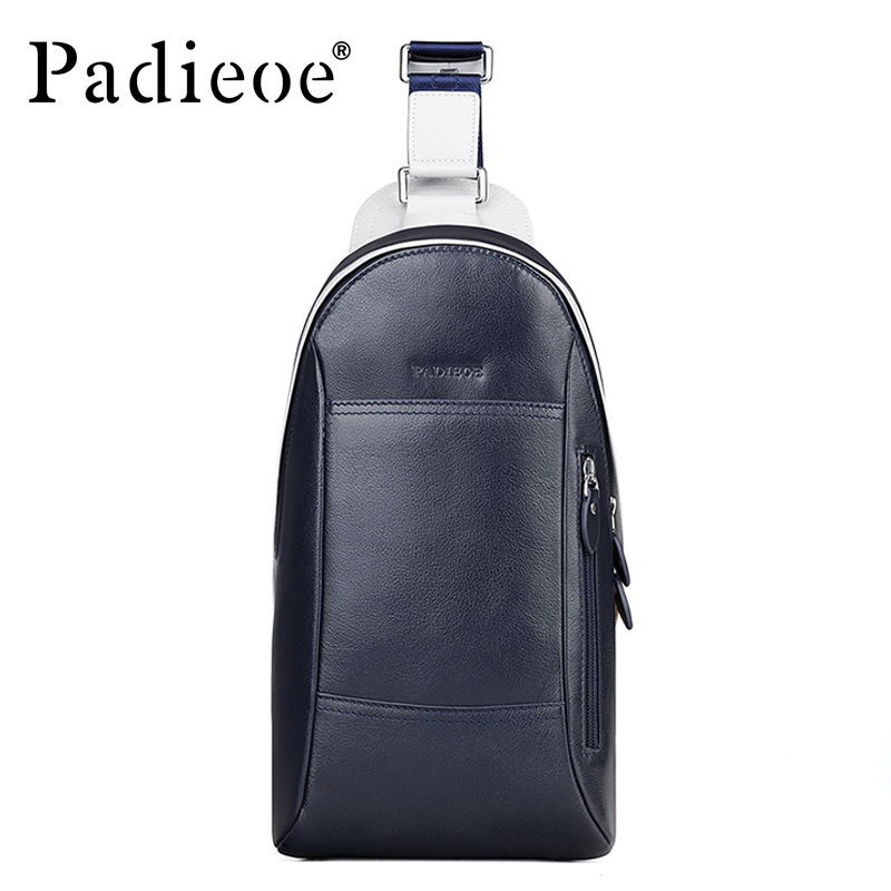 Padieoe Brand 2017 Fashion Chest Packs Men Messenger Bags Men's Genuine Leather Shoulder Bag  New Cross Body Bags Free Shipping