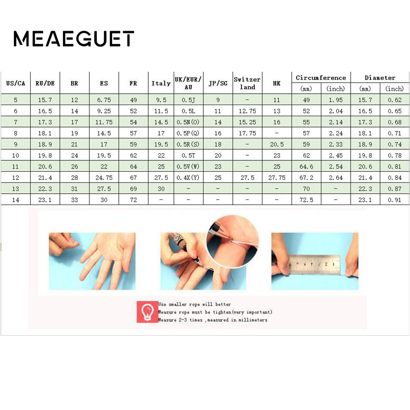 Meaeguet Classic Par Rings For Lover's Cubic Zirconia Wedding Ring - Mode smykker - Foto 6
