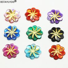 BSTAYLYEXI 15mm sew on Acrylic Flowers Hole Acrylic rhinestone Kite Whirlwind Golden Petal Heart diy bags Garment Accessories(China)