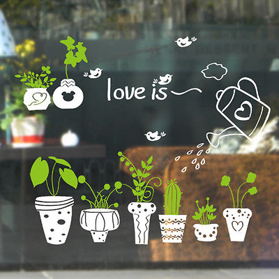 Cute Kindergarten Nature Pot Plants Window Sticker Art Window Glass Wall Decals In Wall Stickers