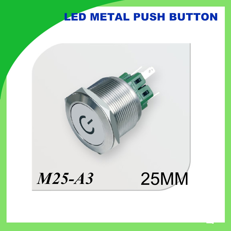 25mm LED Metal push button Switch Waterproof Stainless Steel Character illuminated flat
