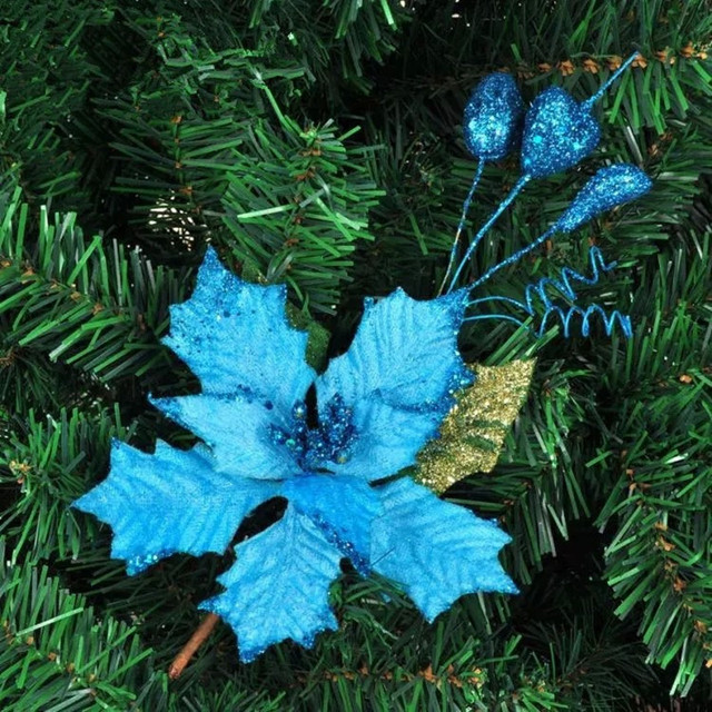 hot sale blue christmas tree ornament wreath of christmas tree branches inserted ear decoration for christmas - Blue Christmas Tree Ornaments