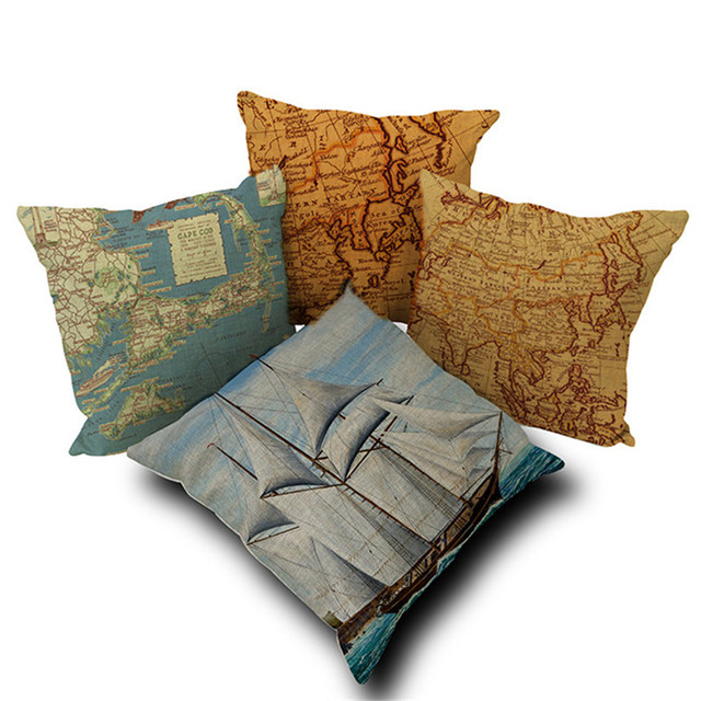 Sea Style Decorative Pillowcase Nautical Sailing Boat Map Linen Pillow  Cushion Cover Car Sofa Hotel Home