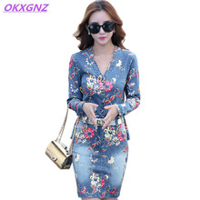 OKXGNZ Denim Print Dress 2017 Spring Summer Fashion V Collar Three Quarter One Step Dress Plus Size Casual Sexy Clothing A383
