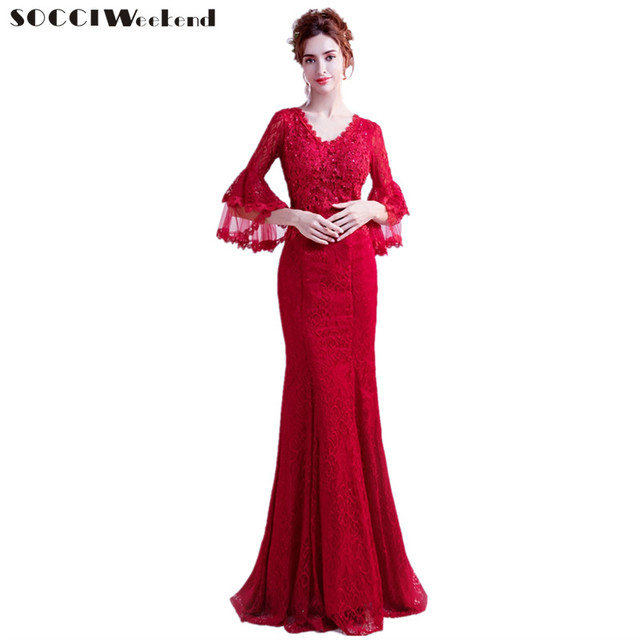 6219fb8d009 SOCCI Weekend New The Banquet Evening Dress 2018 Vintage Burgundy Off The  Shoulder Lace Mermaid Long