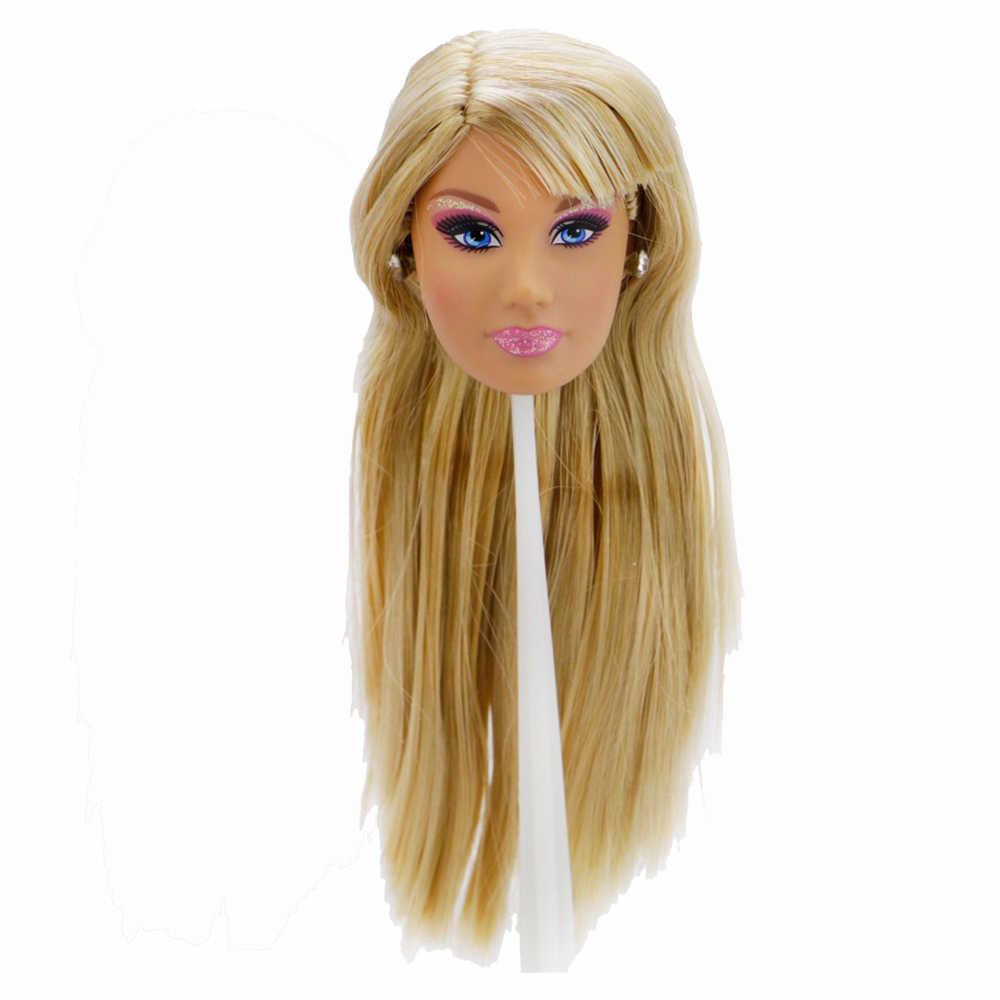 """نوعية ممتازة دمية رئيس وجه مختلف مستقيم مجعد الشعر مع موضة الأقراط عشوائي Accessories بها بنفسك اكسسوارات ل 12 """"ألعاب الدمى"""