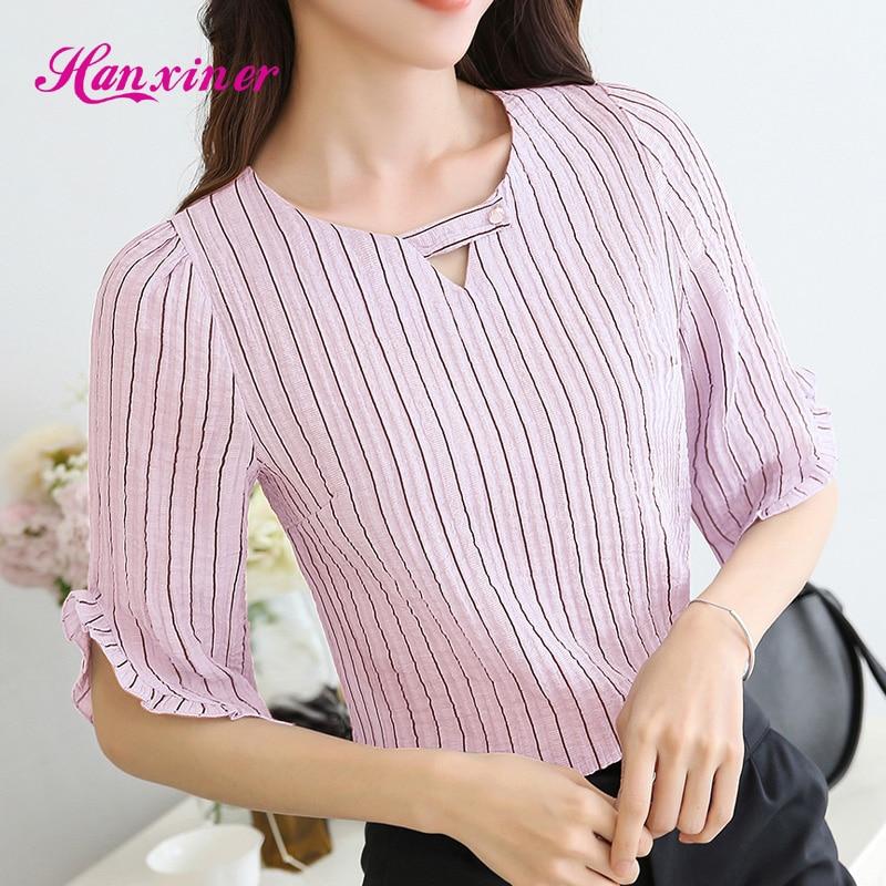 Blusas de las mujeres de moda casual camisa de rayas blusa de la gasa nuevo 2017