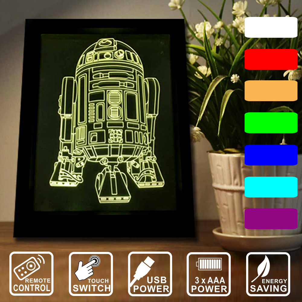 Star Wars R2 Home decoration LED frame light Remote control/touch switch 7 color changing Night Lights 3D lamp IY803761 keyshare dual bulb night vision led light kit for remote control drones