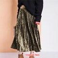 [Twotwinstyle] primavera larga de terciopelo elástico de la cintura faldas plisadas mujeres nueva moda streetwear 3 colores