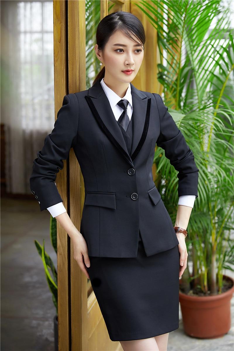 Negro Negocios Mujeres Chaqueta Blazer azul Real Con Elegante Desgaste striped Señoras Sets Uniformes Alta Oficina Calidad Trabajo Trajes Estilos De Falda Y vU0pxX